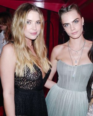 Ashley Benson Nipples in Lace Corset with Cara Delevingne