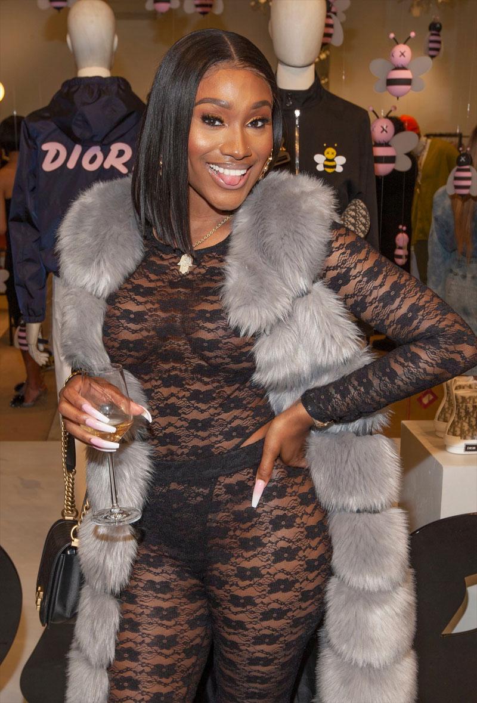 Bernice Burgos Braless in her Black Lace Bodysuit