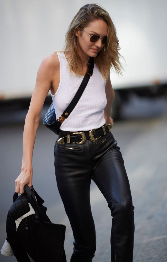 Candice Swanepol Pokies and Ass in Leather Pants