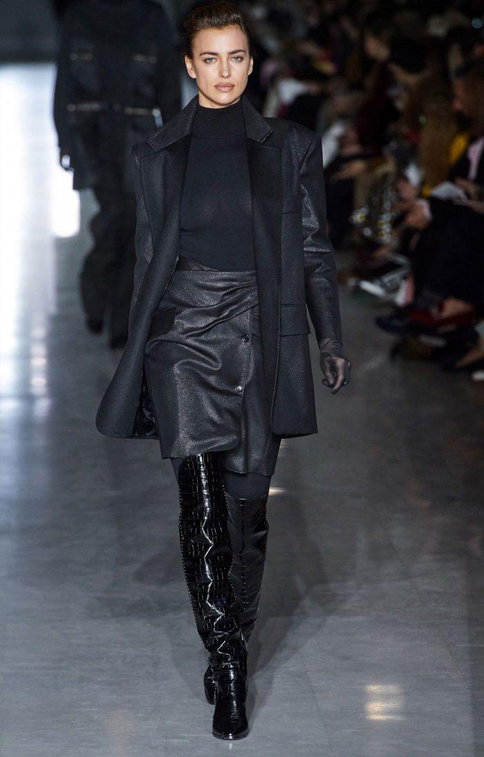 Irina Shayk Braless in Black Top on the Cat Walk