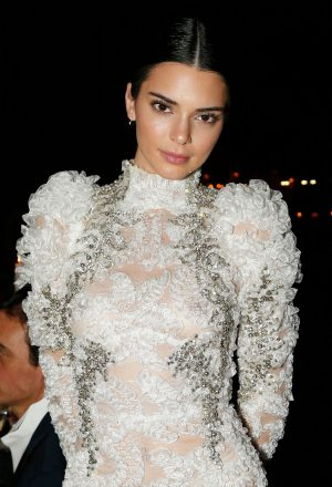 Kendall Jenner Boobs in See Through Flowery Gown
