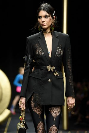 Kendall Jenner Breasts in Windowed Jacket on the Runway