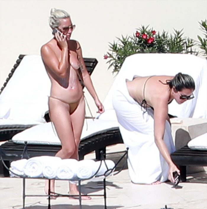 Lady Gaga Topless by the Pool in Mexico