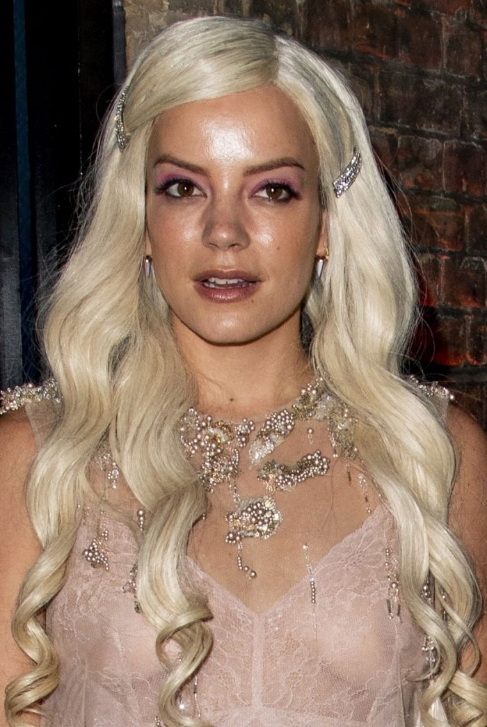 Lily Allen Breasts in See Through Dress at the Brit Awards
