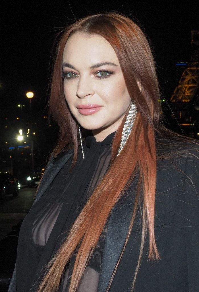 Lindsay Lohan in a Black Lace Bra and Blouse