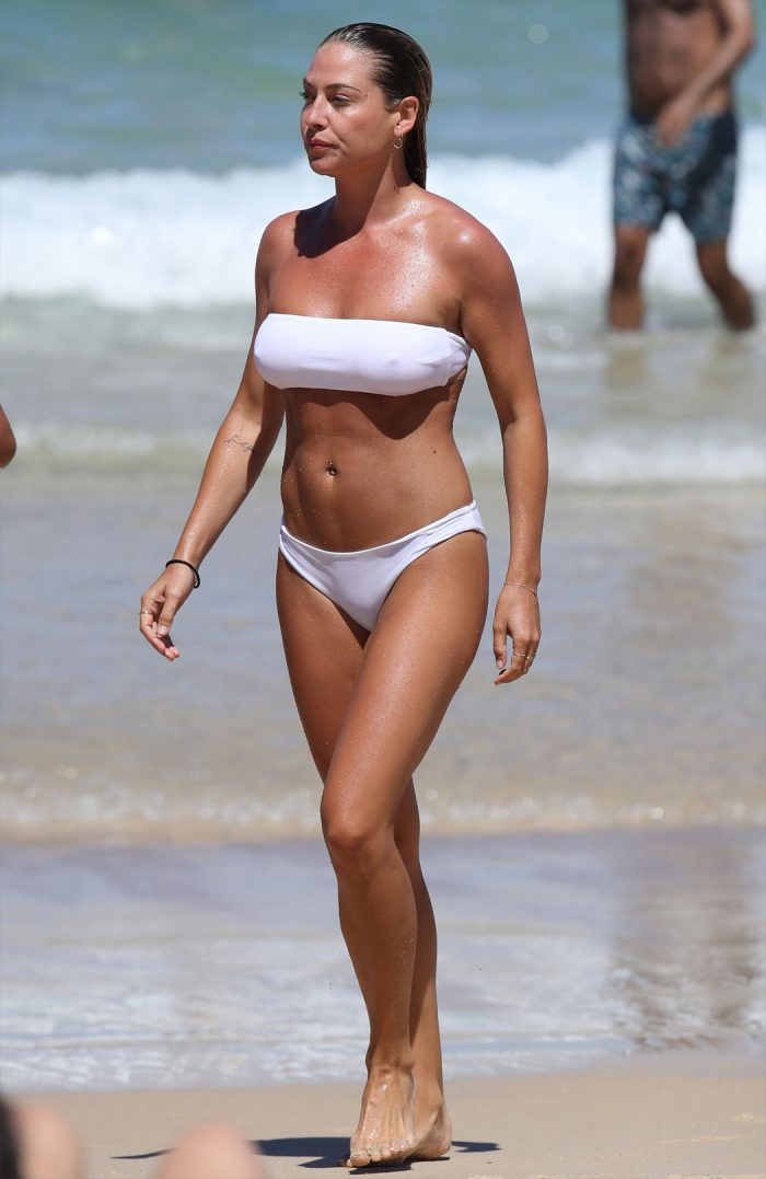Lisa Clark Pokies in a Wet, White Bikini