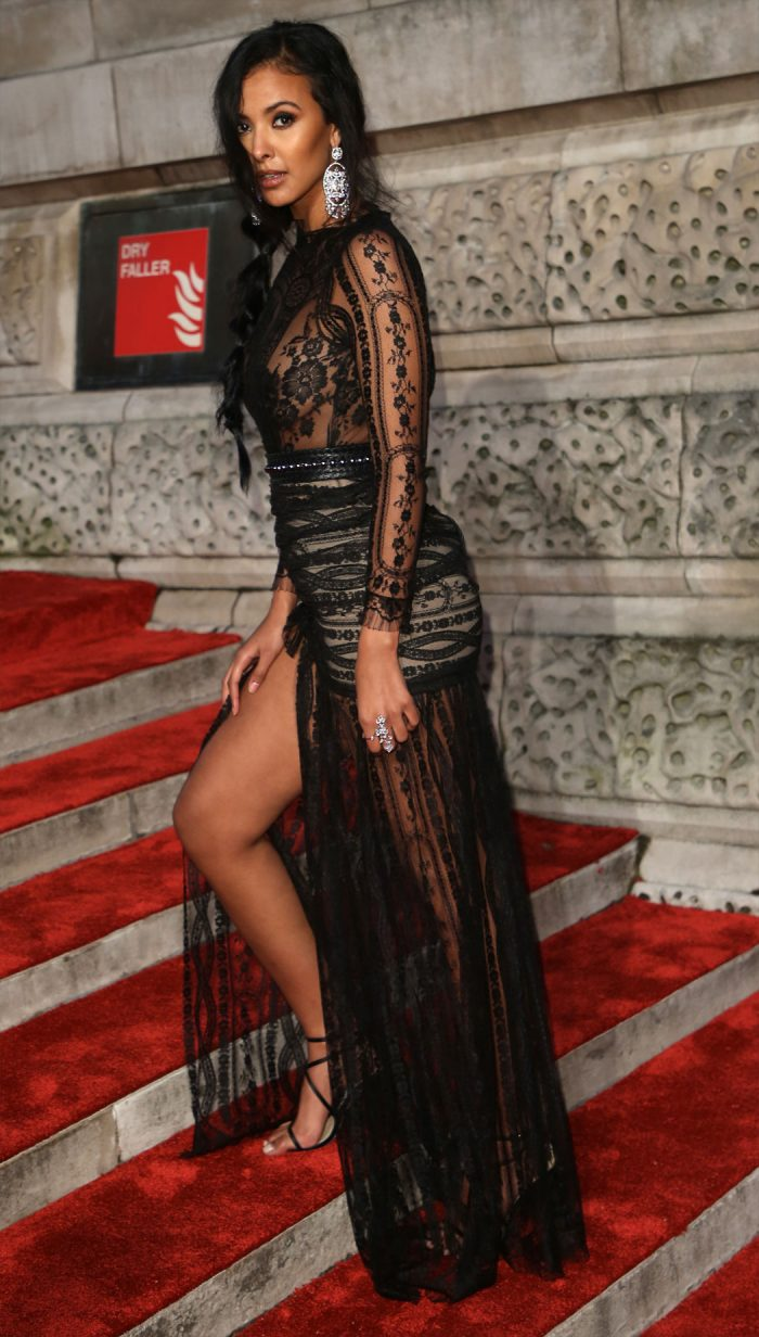 Maya Jama Black Lace See-Through Dress