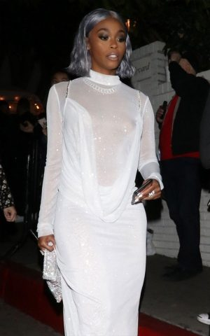 Actress Nafessa Williams Nipple Slips in White Window Dress