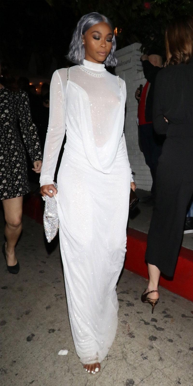 Actress Nafessa Williams Nipple Slips in White Window Dress