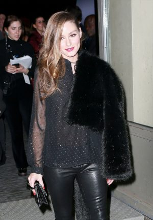 Olivia Palermo Braless Nipples in Sheer Blouse