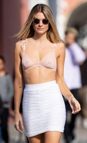 Rachel McCord Modeling Pink Sheer Lingerie