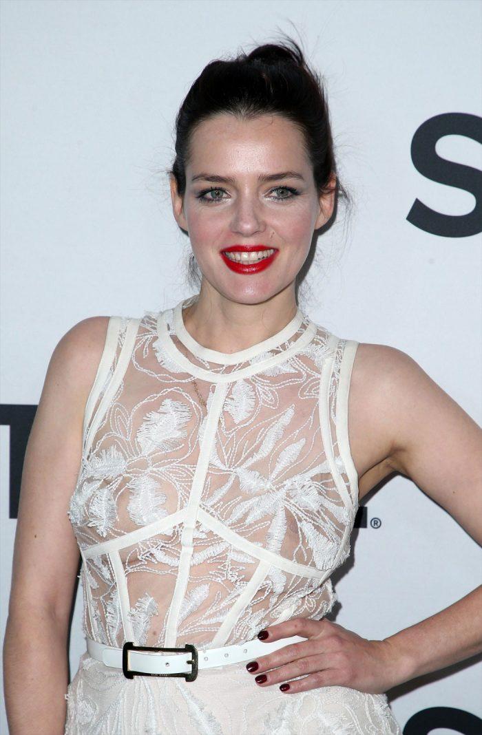 Roxane Mesquida Braless in White Mesh Dress
