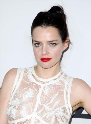 Roxane Mesquida Braless in White Mesh Dress