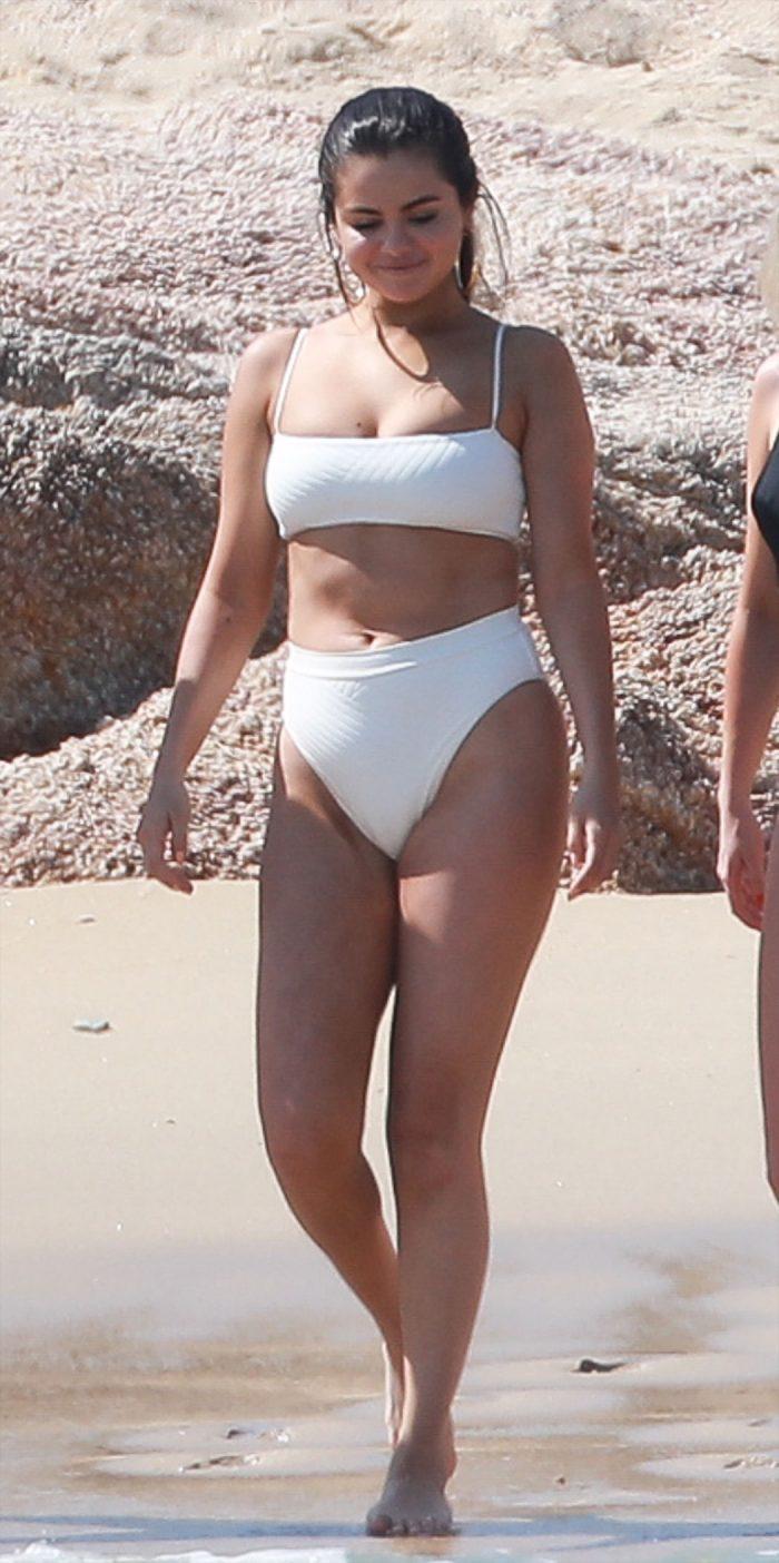 Selena Gomez Back to the Beach in Cream Bikini