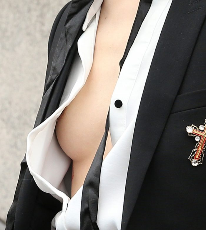 Sora Choi Side Boob and Nipple Peek at NYFW