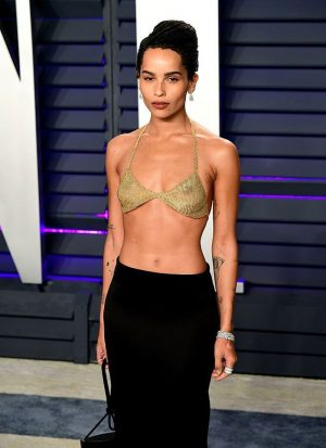Zoe Kravitz Nipples in See-Through Bra on the Oscars Red Carpet