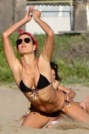 Alessandra Ambrosio Black String Bikini Playing Beach Volleyball