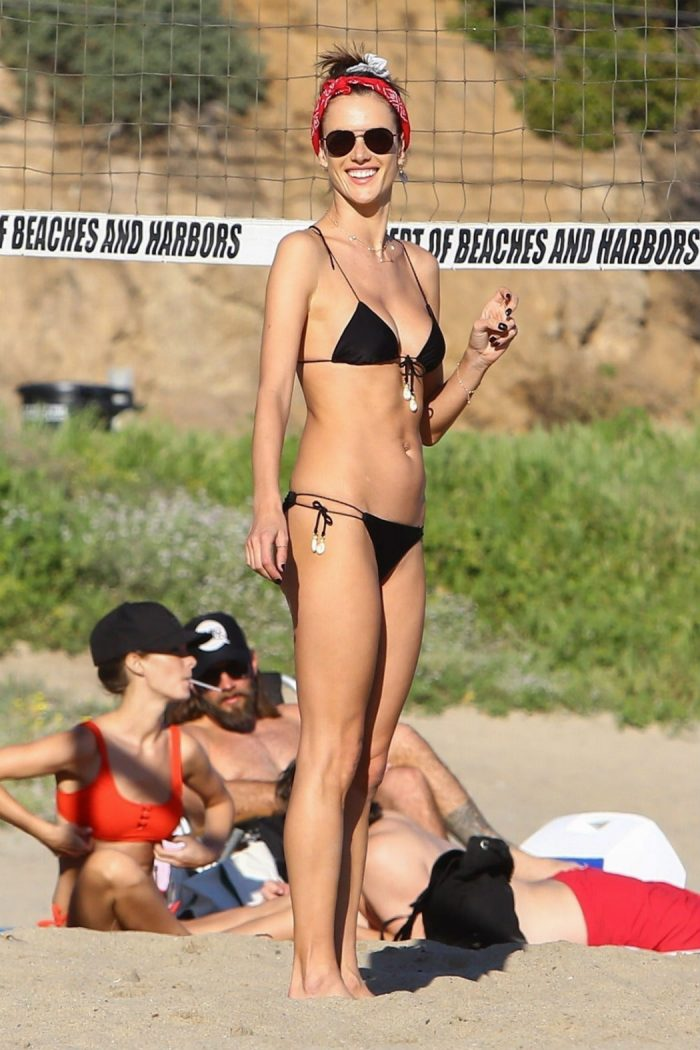 Alessandra Ambrosio Black String Bikini Playing Beach Volleyball