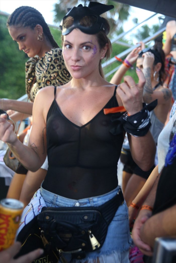 Ivete Sangalo Braless Breasts in Totally Sheer Shirt