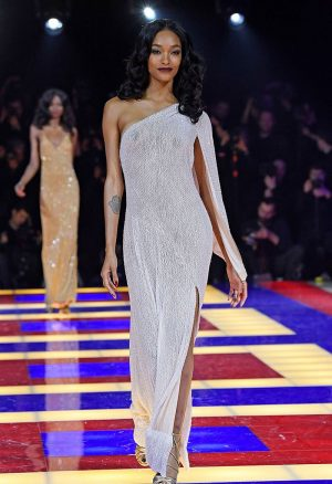 Jourdan Dunn Braless in Very Sheer Gown
