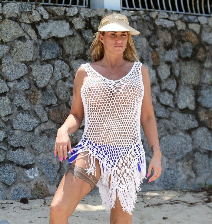 Katie Price in Only a Mesh Top on the Beach