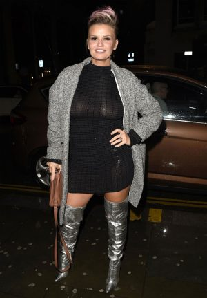 Kerry Katona Nipples in Sheer Evening Dress