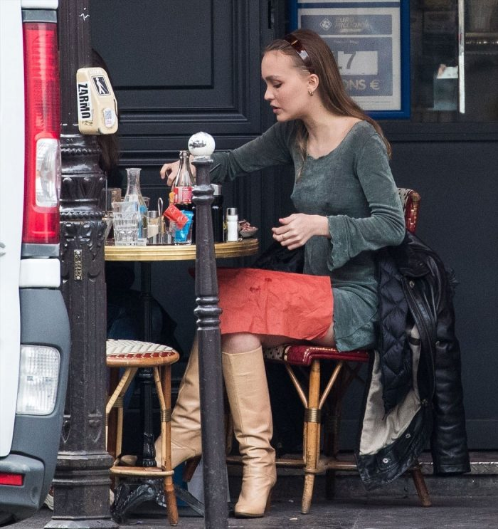 Lily Rose Depp Braless Pokies at Lunch