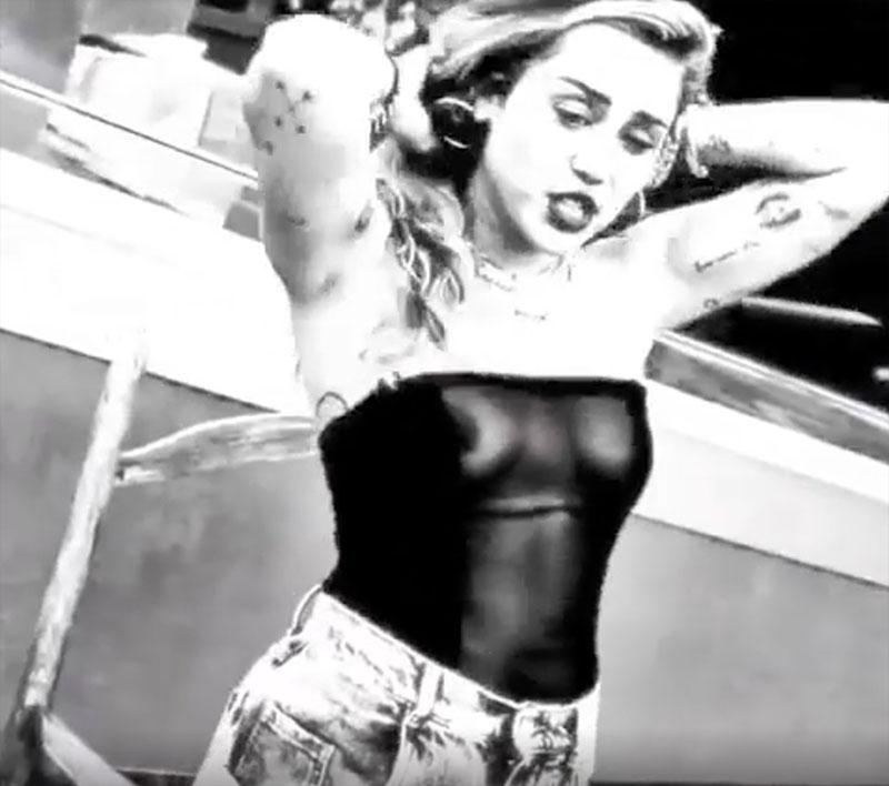 Miley Cyrus B&W Video Accidental Nipple Slip