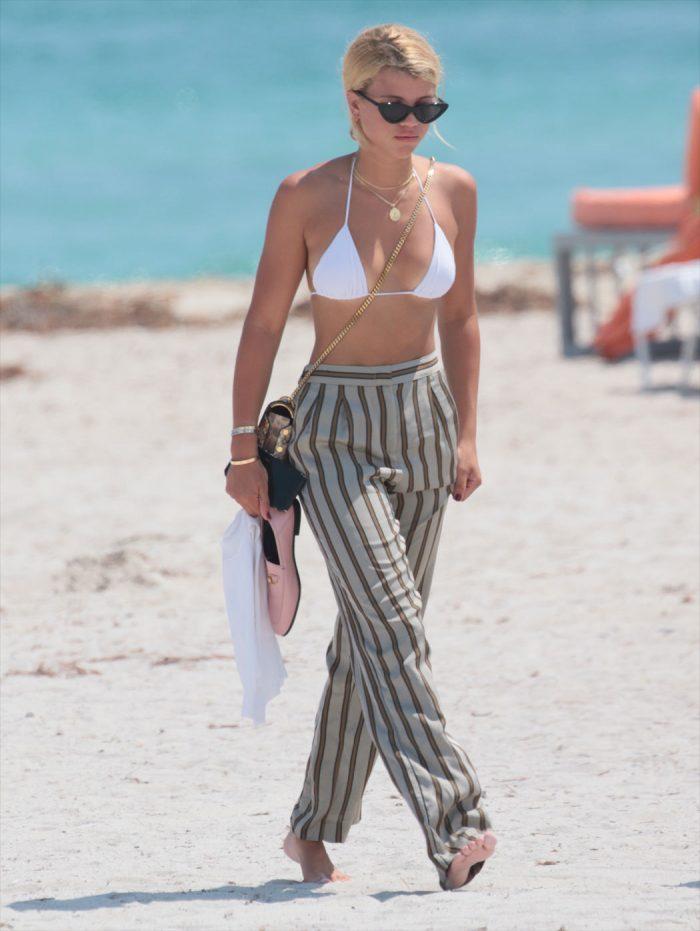 Sofia Richie Tiny White Bikini Top