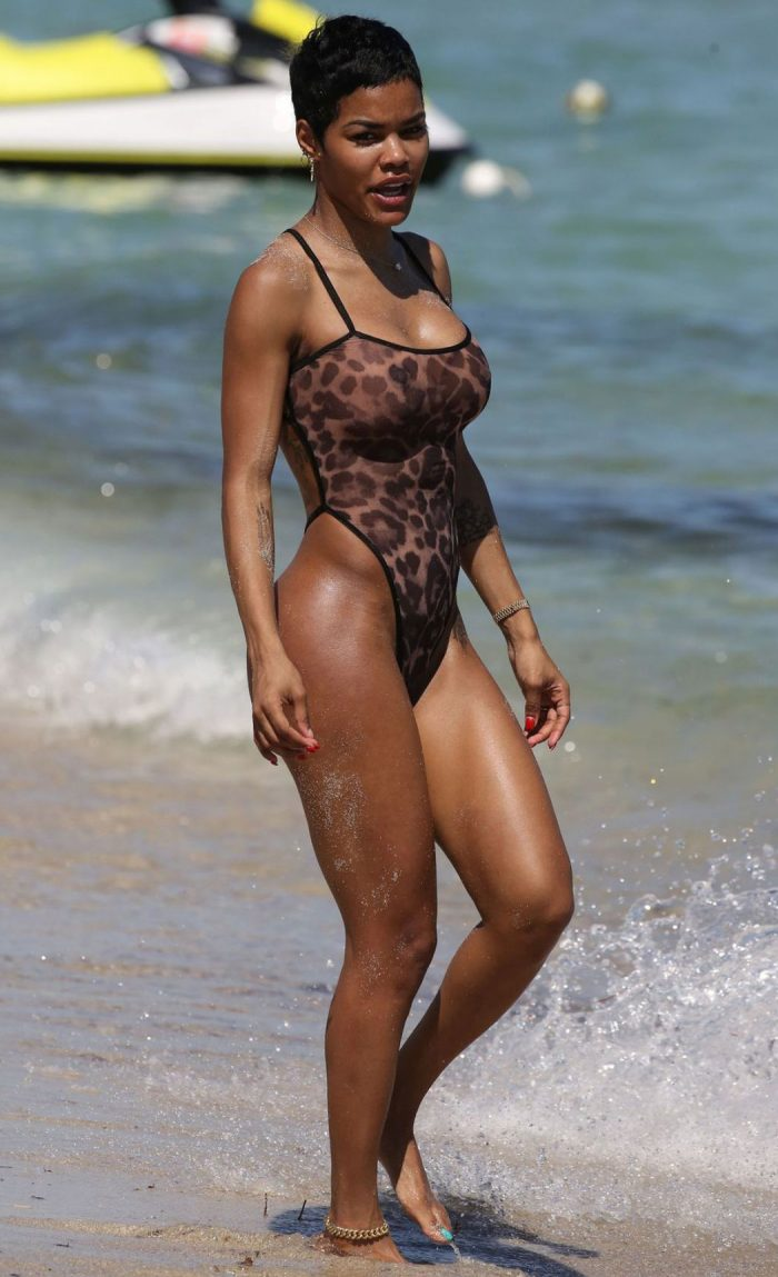 Teyana Taylor's Body in a See-Through Leopard Bathing Suit
