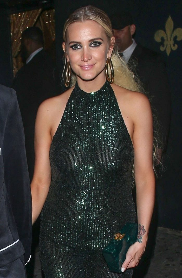 Ashlee Simpson Nipples in Sheer Evening Gown