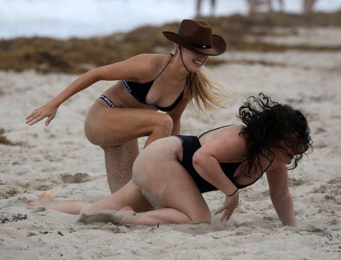 Eugenie Bouchard Nipple Slip at the Beach