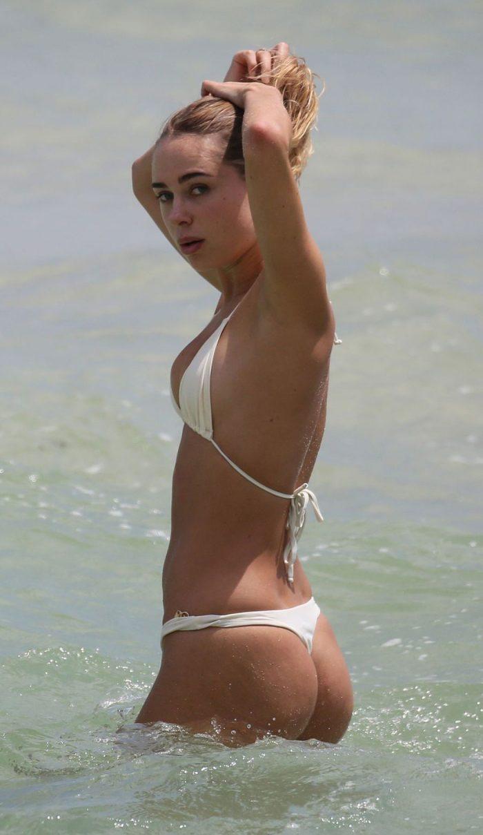Kimberley Garner Cameltoe in a Cream Bikini