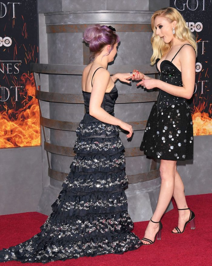 Sophie Turner GOT Finale Cleavage and Legs + Maisie Williams + Video