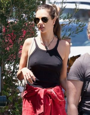 Alessandra Ambrosio Braless Pokies in Black Top