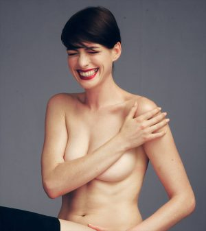 Anne Hathaway Naked but Covered with a Nipple Peek