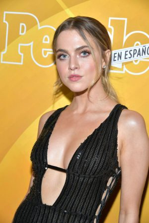 Anne Winters No Bra in Black Sheer Dress