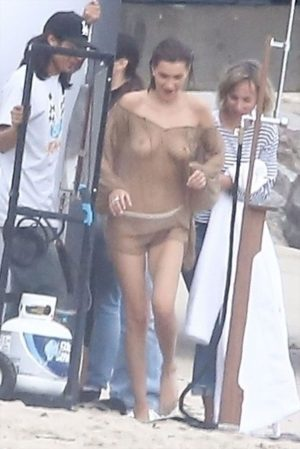 Bella Hadid Papped on a Beach Photo Shoot