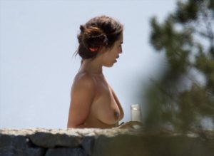 Katie Salmon Topless Sunbathing on Vacation