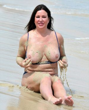 Lisa Appleton Rubbing Sand on her Boobs at the Beach