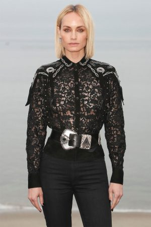 Amber Valletta Braless in a Black Lace Shirt