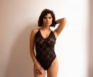 Diane Guerrero in Black Lace Lingerie