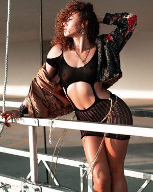 Dora Madison Burge Posing in See Through Top