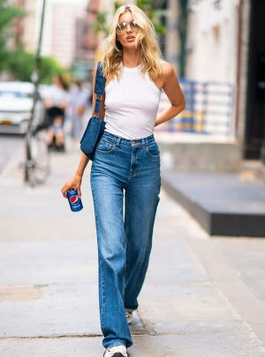 Elsa Hosk No Bra in White Tank Top on the Street