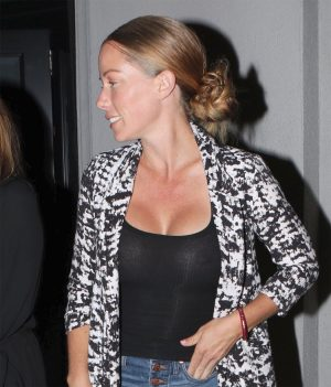Kendra Wilkinson Night Out While Braless in Black Top