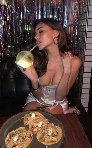 Madison Beer Nipple Slip & Eating Tacos