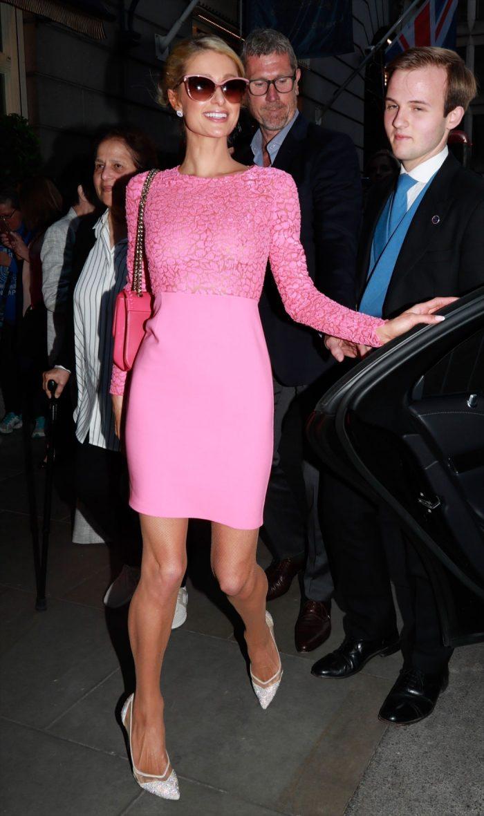 Paris Hilton Braless Nipples Through Her Pink Dress - Taxi -7690