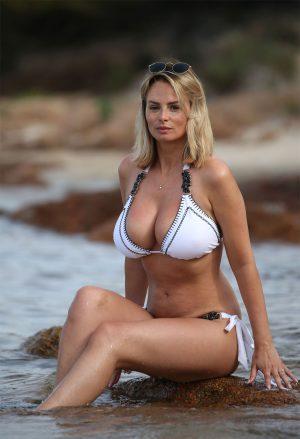 Rhian Sugden Caught in a White Bikini in the River