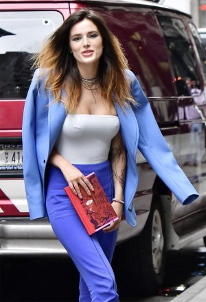 Bella Thorne Pierced Nipple Pokies in Business Suit