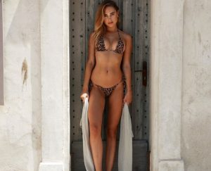 Kimberley Garner Posing in a Leopard Print Bikini